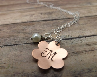 flower necklace- personalized necklace- personalized jewelry- copper flower necklace-flower girl necklace- girls necklace