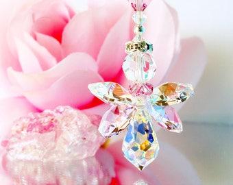 Guardian Angel Car Mirror Charm, Pink Swarovski Crystal Rear View Mirror Charm, Car Accessories