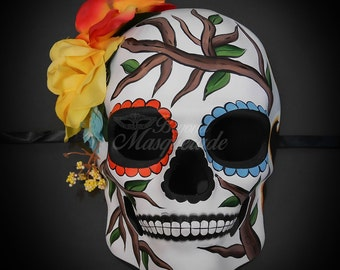 Day of the Dead Mask, Dia de los Muertos Mask, Sugar Skull Mask, Masquerade Mask for Halloween & Costumes