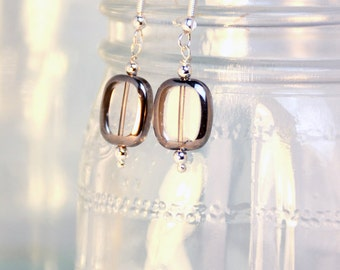 Modern Silvered Glass Earrings