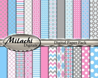 "60% OFF SALE Gray pink blue digital paper pack, 12"" x 12"" scrapbook papers, backgrounds - Commercial Use - Instant Download - M257"