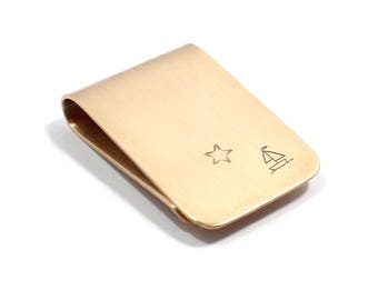 Sailing Under the Stars Sailboat Money Clip Bronze or Sterling Silver, Metal Card Holder, Personalized, Stamped, Nautical, Gift For Him