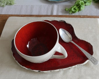 Teacup with Saucer Red, colorful teacups wheel thrown, Cappuccino Cup, Stoneware cup, Big coffee cup, Pottery ceramic mug, Birthday gift
