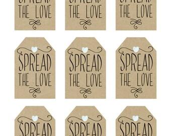 printable favor tags, spread the love printable tags, digital favor tags, rustic favor tags, christening favor tags, you print, DIY
