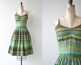 Spring Stripe dress | vintage 1950s dress | cotton 50s dress