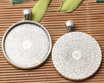 TIBETAN silver color  textured  round cabochon setting in 40mm /35MM/30MM/25MM/20MM/18MM  TO CHOOSE