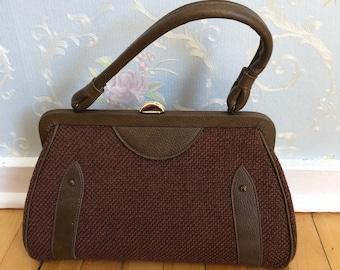 Vintage 1950s Women's Brown Leather Tweed Top Handle Purse Handbag!