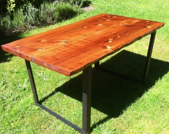 Fir Live-Edge Dining Table with Steel Legs.