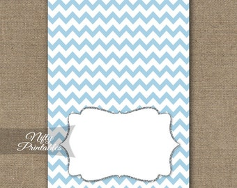 Blue Food Tents - Blue Place Cards - Blue Silver Party Decor - Blue White Chevron Buffet Cards - Printable Blue Baby Bridal Tent Cards BCH