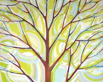Sunlit Tree no. 13 (36x36) Original painting on canvas by Kristi Taylor
