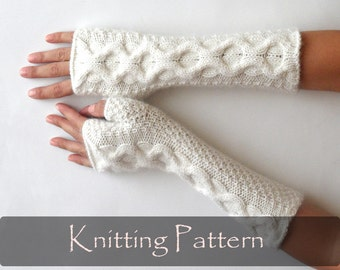 KNITTING PATTERN - Knit Fingerless Mittens Cable Fingerless Gloves Pattern Knit Pattern Knit Gloves Pattern Cable Arm Warmers PDF - P0008