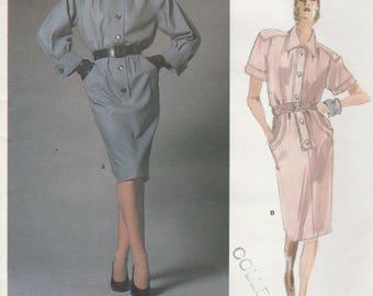 Vogue 1785 Paris Original Yves Saint Laurent- Womens Blouson Dress in 2 Variations - Size 14 UNCUT