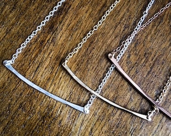Hammered Arc Necklace - Small or Medium