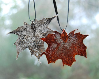 Real Maple Leaf Ornament - SOLD SINGLY- Or your choice of a set of both Copper & Silver Maple Leaves
