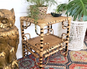 Vintage Bamboo Plant Stand Side Table / Tortoise Shell bamboo and Cane / Bentwood Table