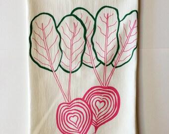Tea Towel, Beet Towel, Foodie Gift, Screen Printed Flour Sack Towel, Gardening Gift