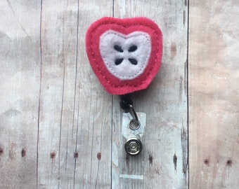 Hot pink apple badge reel -- perfect gift for your favorite classroom teacher, para, tutor, or aide -- show your appreciation