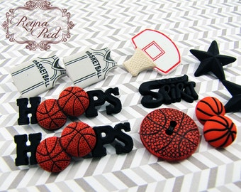 Mixed Basketball Themed Buttons, 11 pcs, sports, athletic, ball, plastic buttons, sewing buttons, orange buttons - reynaredsupplies