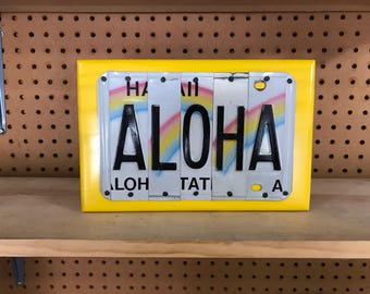 ALOHA Custom Recycled LICENSE Plate Sign Art Wall Hanging Yellow Hawaii