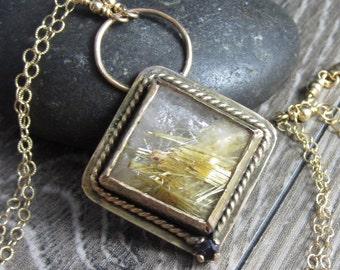 The Golden Fields Necklace - Golden Rutilated Quartz in 14k Gold Fill Setting with a Dark Blue Sapphire