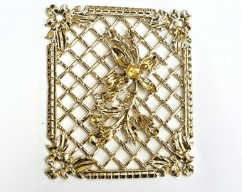 1 Piece Gold Plated Aluminum Lattice Work Finding, With Border, Flowers and Settings, 69x58mm