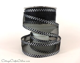 """Wired Ribbon 1 1/2"""" Black Sheer with White Woven Check Edge - THREE YARDS - May Arts Checked Craft Wire Edged Ribbon"""