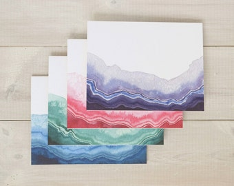 Geode Note Card Set, Geode Cards, Agate Cards, Blank Cards, All Occasion Cards, Watercolor Cards, Blank Thank You Cards, Set of 10