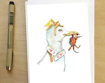 Seagull Lunch, greeting card by Abigail Gray Swartz