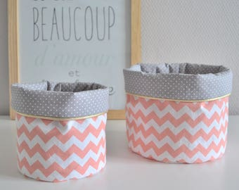 Baskets of pink, grey and white