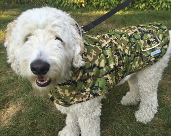 Camouflage Dog Raincoat with fleece lining and reflective details