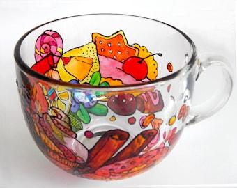 Sweets Ornament, Large Tea Mug, Sweets Set, Set of Tea Sweets, Handpainted mug Stained Glass mug, unique tea mug