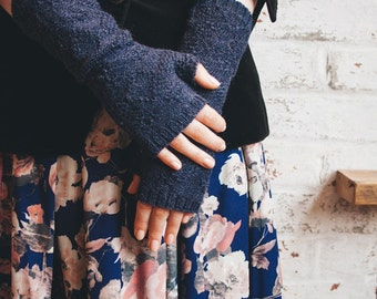 Navy blue fingerless gloves - knit arm warmers - winter gloves - alpaca fingerless gloves - blue gloves - wrist warmers - gift for her