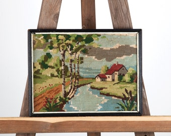 Vintage Framed Needlepoint, Antique Petite Canvas, Hand Stitched Embroidered wall tapestry, Vintage Provincial Landscape, Wall Hangings