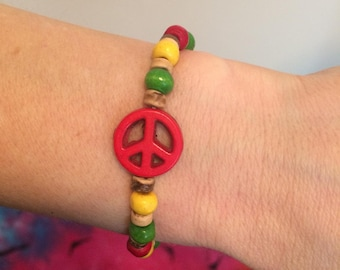 Rasta Peace Bracelet with wooden beads, Red, Yellow & Green Peace Sign Bracelet, peace sign bracelet, peace bracelet, rasta bracelet