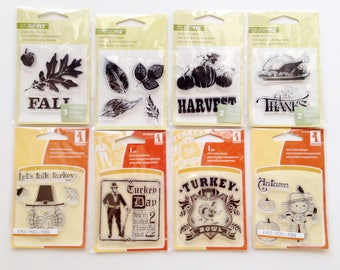 Thanksgiving Fall Clear Stamp Lot, Clear Mini Stamps, Scarecrow, Harvest, Autumn, Pumpkins, Turkey, Leaves, Acorn, Give Thanks