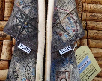 Custom Toms shoes Bicycle Passport Stamps - World Travel - Old Bicycle - Bike Painting - Globetrotter Shoes - Personalized size 7