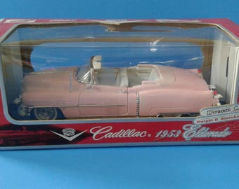 Die cast car 1953 Cadillac Eldorado Dream Car Dwight D. Eisenhower Official Presidential Auto Pink Cadillac convertible FogartyTreasures