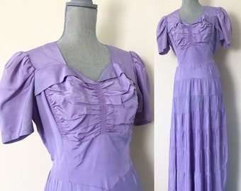 Lavender 1930s Tiered Gown