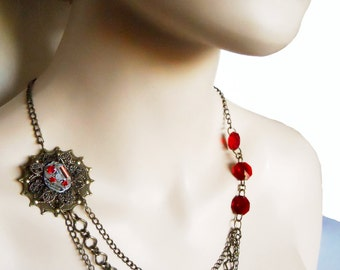 Watch part Steampunk Adventurers Necklace Multi Strand chain Neo Victorian Inspired brass chain with Filigree accent and red Crystals