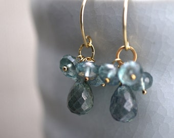 Blue Green Mystic Quartz Earrings - Seagreen briolettes and rondelles of quartz on Gold Rings and Ear Wires, Style Number 920