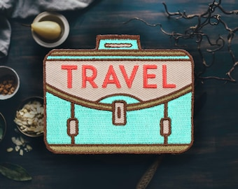 "Travel Suitcase Patch | Sew On | Embroidered | Patches for Jackets | 2.75"" (Free Shipping US)"