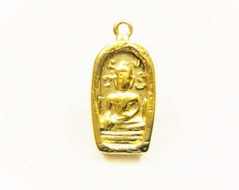Vermeil, 18k gold over 925 Sterling Silver BUDDHA , Beautiful Spiritual Holy Meditation Finding, Pendant 1pc., matte vermeil buddha, buddha,