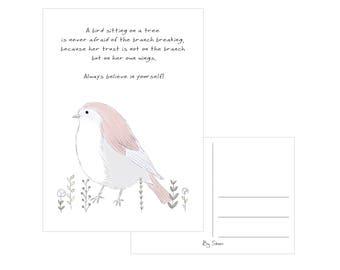 Postcard - A bird sitting on a tree