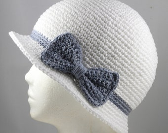Cloche Hat in White with Faded Denim Blue Band and Bow for Cancer Patients - Cancer Hat/Chemo Hat/Cancer Cap/Chemo Cap