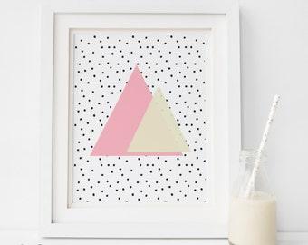 SALE Pastel Prints, Geometric Print, Geometric Prints Wall Art, Triangles Print, Pastel Poster, Pastel Wall Art, Pink Art, Pink Print Art PT
