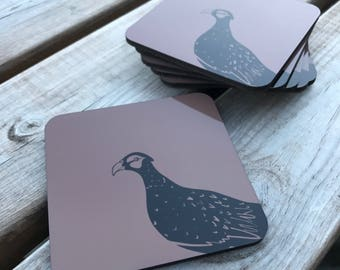 Brown, pheasant hardwood cork backed coasters 95mm x 95mm (pack of 6)