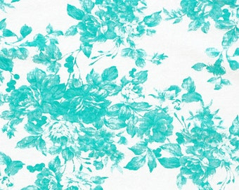 Aqua Blue Film Grain Roses Cotton Spandex Knit Fabric! This listing is for 1 yard of Fabric.