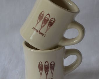 eb2726 TWO Restaurant Ware DINER Coffee Mugs Snowshoes Snowshoeing Coffee Cocoa Cups...maker unknown...