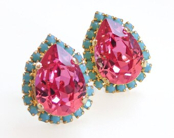 Pink and turquoise blue crystal earrings - pink and blue earrings - teardrop stud earring - Swarovski crystal