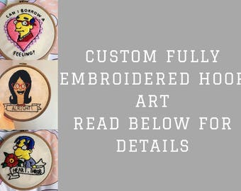 Custom fully embroidery hoop art